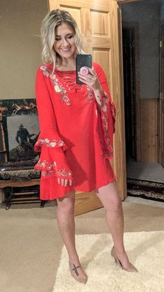 719097f8f7f6c9 Embroidered Senorita Dress with Bell Sleeves – Kinlee Rose  https   www.kinleerose