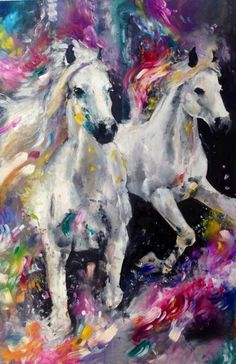 Pretty white horses painting with sweet flowers. Katy Jade Dobson