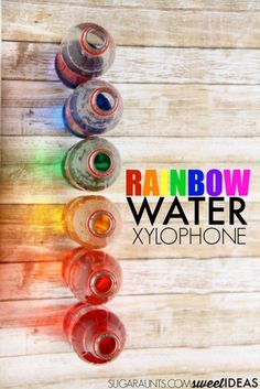Kids love this rainbow water xylophone using recycled bottles to make music. Kids love this rainbow water xylophone using recycled bottles to make music. Infant Activities, Stem Activities, Learning Activities, Activities For Kids, Color Activities, Recycling For Kids, Diy For Kids, Crafts For Kids, Recycled Bottles