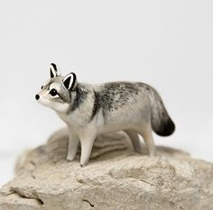 Polymer Clay Wolf Figurine OOAK Handmade Animal Totem