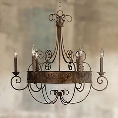 "Rust Candelabra 30"" Wide Bronze Scroll Chandelier - #Y2301 | LampsPlus.com"
