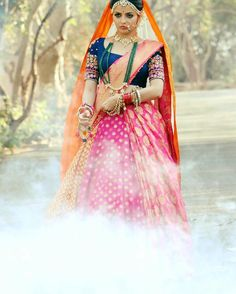 Fashion trends set from Ishqbaaz show with Anika, Gauri, Tia showing high state of fashion outfits dresses in both series. Desi Bride, Indian Dresses, Indian Outfits, Indian Bridal Fashion, Saree Styles, Wedding Wear, Wedding Dress, Bridal Lehenga, Indian Designer Wear