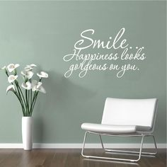 Vinyl Wall Decal Art Saying Decor Quote Smile Happiness Looks Gorgeous on You