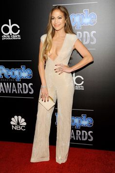 J.Lo stunned (as usual) in a sparkly nude Naeem Khan spring 2015 jumpsuit