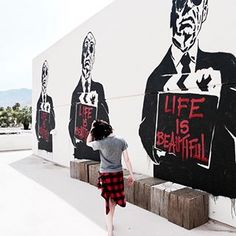 LIFE  IS  BEAUTIFUL #art #mural #streetart #urbanart #hitchcock #mrbrainwash #palmsprings #palmspringsstreetart #lifeisbeautiful New post link in bio 👆🏻 Mr Brainwash, Urban Art, Palm Springs, Life Is Beautiful, Street Art, Darth Vader, Link, Fictional Characters, City Art