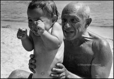 Magnum Photos - FRANCE. Pablo PICASSO. 1948. - FRANCE. Golfe-Juan. August, 1948. Pablo PICASSO with his son Claude.  Photo by Robert Capa.