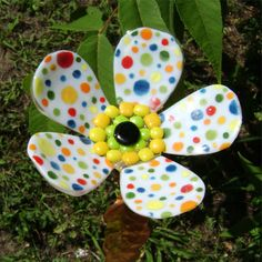 Dotty Garden Stake Glass Flower Fused by blueheron on Etsy