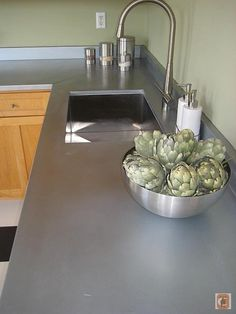 Zinc Countertop With Light Wood Cabinets......Love This A Lot!