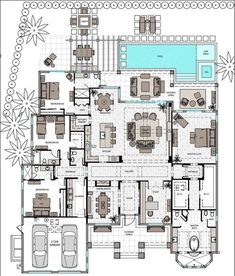 single story 3 bed with master and en suite open floor plan. clearly do not need all of these options but like the floor plan a lot Pool House Plans, Dream House Plans, My Dream Home, 4000 Sq Ft House Plans, The Plan, How To Plan, Mediterranean Style Homes, Plan Design, Design Ideas