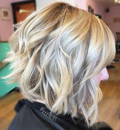 Inverted Blonde Bob with Messy Finish