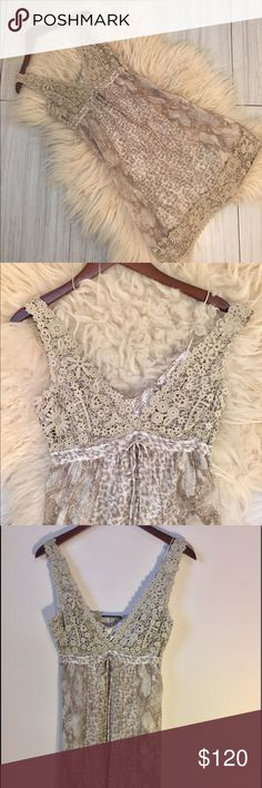 """$495- Silk Elie Tahari dress 100% silk - Beautiful slip dress under sheer tan/white overlay with lace trim. Hidden zipper. Detailed ribbon at waist. V-neckline. Never worn and still has tags.      Approx 28.5"""" from underarm to hemline. Underarm to underarm approx. 15"""" laid flat across. Measures approx 13.5"""" across bow tie at waist. Fits true to size.                             Smoke free/pet free home.  Use the Buy Now button for fast shipping! Bundle for additional discounts! 🌸  Follow on…"""
