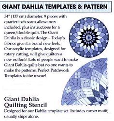 Perfect Patchwork Template Giant Dahlia Templates & Pattern Set ...