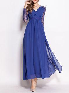 #AdoreWe StyleWe Evening Dresses - She's Blue Swing Elegant V Neck Evening Dress - AdoreWe.com
