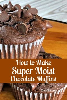Search no further, for you have just uncovered THE BEST chocolate muffin recipe! These Moist Chocolate Chip Muffins are all that one longs for in a muffin – super chocolatey, dense, and moist. Homemade Chocolate Chip Muffins, Moist Chocolate Chip Muffins, Chocolate Chip Cupcakes, Homemade Muffins, Simple Chocolate Cupcake Recipe, Chocolate Muffin Recipes, Fun Baking Recipes, Cupcake Recipes, Cookie Recipes