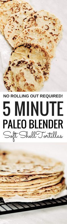 Best ever soft shell paleo tortillas made in five minutes! No rolling out required. Make these soft gluten free blender by blending almond flour, tapioca flour, avocado oil, and coconut milk in a blender. Pour batter onto a skillet and out comes the most beautiful and tasty grain free tortillas, perfect for taco night or a breakfast burrito! The easiest, most versatile, fool proof, and delicious paleo flour tortillas! Easy gluten free tortilla recipe. best gluten free tortilla...