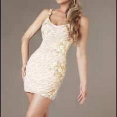Macduggal 0 beaded dress Ivory beaded dress..worn once. Gorgeous and I got so many compliments. Normally retails for $500 macduggal Dresses