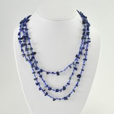 """[1985] japanese silk lapis, pearl and crystal 64"""" necklace"""