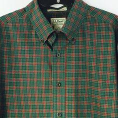 L.L. Bean Mens Long Sleeve Button Front Shirt Large Green Red Plaid Cotton  #LLBean #ButtonFront
