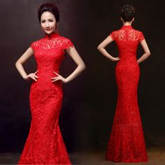 Mandarin collar cap sleeve red lace long Chinese bridal wedding dress 001