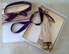 Boxed Wedding Invitation Scroll On Fabric With Elegant Damask, Eggplant And  Gold Wedding, Medieval