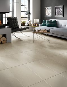 Living Room Ideas  |  2016 Tile Trends |  12 x 24 field tile on the floor.