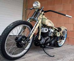 Image of 1942 Harley WLA Flathead Camouflage Bobber by Rico. I love the super wide handlebars.