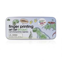 Finger Printing Art Set - Dinosaurs Each colour printed tin contains 10 colour pencils, 10 stamps and 3 inkpads, plus a colour 'idea sheet'.