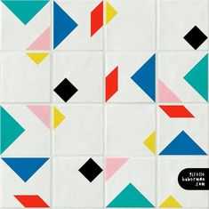 """Introducing my new tile design """"Tangram"""". 4 motif for you to play with. I think 2018 will be a year of . Tile Patterns, Textures Patterns, Print Patterns, Deco Design, Tile Design, Design Art, Graphic Design, Geometric Tiles, Geometric Shapes"""