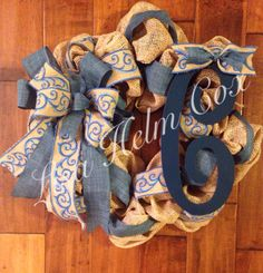 Burlap mesh wreath with navy and denim with blue scroll burlap ribbon