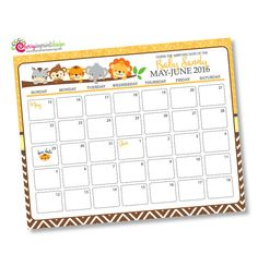 Safari Guess the Due Date Calendar Baby by CherryImprintDesign