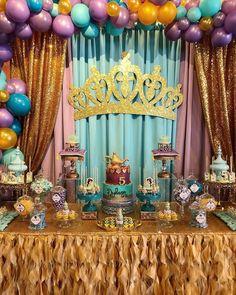 Aladdin Birthday Party, Aladdin Party, Cinderella Birthday, Princess Birthday, First Birthday Parties, Birthday Party Themes, Birthday Ideas, Princess Jasmine Party, Princess Theme Party