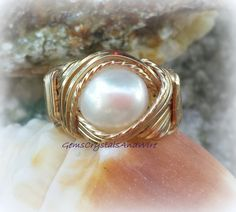 Ladies Ring Handmade Ring Gold Fill Ring Pearl Ring Wirewrapped Ring Unisex Ring - pinned by pin4etsy.com