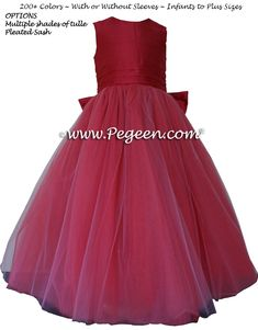 Rouge (reddish-pink)  metallic ballerina style FLOWER GIRL DRESSES with layers and layers of tulle