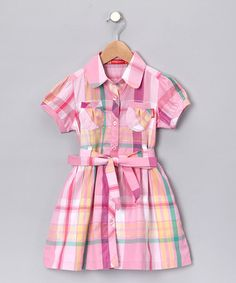 Take a look at this Pink Plaid Shirt Dress - Infant by KidsPlanet on #zulily today!