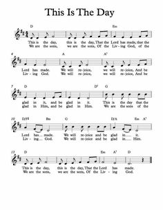 SEO Keyword Tracker Tool - Free To Try! Free Sheet Music - Free Lead Sheet - This is the day - Children's songFree Sheet Music - Free Lead Sheet - This is the day - Children's song Gospel Song Lyrics, Christian Song Lyrics, Gospel Music, Christian Music, Children's Church Songs, Church Music, Piano Songs, Violin Music, Guitar Songs