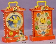 Fisher Price Music Box Clock made 1968-1983. I didn't have it but my kids did.  I still have one.  Find out more about vintage Fisher Price at http://www.thisoldtoy.com/L_FP_Set/Pg_Main.htm. It contains the following historic and useful info:  1) General Information on the Fisher-Price Company. (Including where to get parts for newer play sets)  2) Identifying and Dating Your Toy  3) Logos and Dating  4) Knock-Offs  5) General Information on Fisher Price Collecting and Values  6) Information…