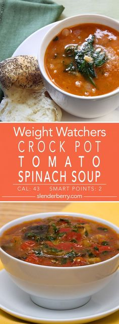 Weight Watchers Slow Cooker Tomato Spinach Soup Appetizer Recipe with carrots, celery, onion, garlic Carrot And Celery Recipes, Spinach Recipes, Soup Recipes, Vegetarian Recipes, Healthy Recipes, Vegetable Slow Cooker, Slow Cooker Soup, Slow Cooker Recipes, Soup Appetizers