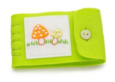 Small Felt Needle Book Hand Embroidered Lime by JennMaruskaDesign, $16.00