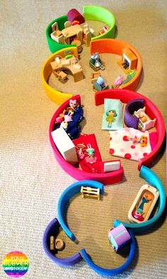 Eight Different Ways to Play with a Grimms Rainbow Stacker - from creating small worlds for pretend, to challenging your youngest builder and exploring early Maths and STEM concepts, a Grimms Rainbow Stacker is the perfect toy and a must for any childhood Montessori Toddler, Toddler Play, Montessori Toys, Baby Play, Toddler Activities, Family Activities, Grimm's Toys, Diy Toys, Grimms Rainbow