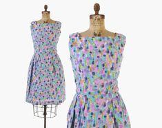 Vintage 50s SUN DRESS / 50s Watercolor FLORAL Full Skirt