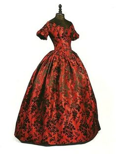 db2af2743e9 Embroidered red and black antebellum Southern Belle style evening gown  circa 1850 Gorgeous