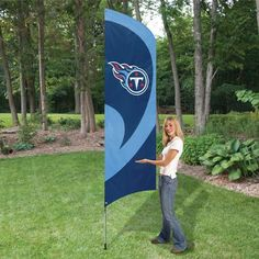 The Tennessee Titans Tall Team NFL Flag with Pole