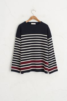 Different Colour Detail Sleeve Stripe Knit Jumper, Navy, 80% Acrylic, 20% Viscose