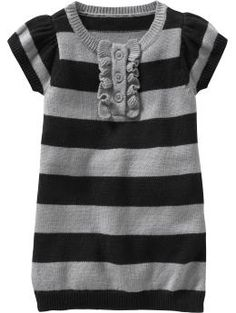 Striped Henley Sweater Dress for Baby. Hmmm... with a pair of tights and gray knit hat would be so cute for fall :)!