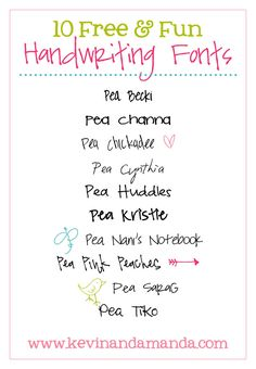 10 Free Handwriting Fonts with Matching Doodles!