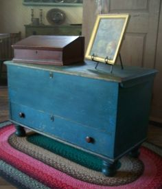 Love this blue Chest over a single drawer
