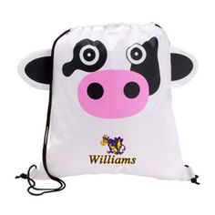 The Custom Branded Paws & Claws Cow Drawstring Backpack has a cow face with fun 3-dimentional features, double drawcord closure, and a large imprint area
