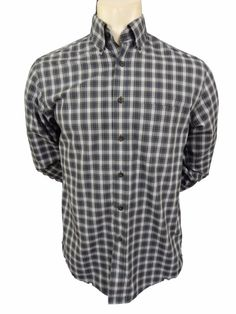 LL Bean Shirt Mens Size S M Wrinkle Free Button Front Long Sleeve Blue Plaid #LLBean #ButtonFront