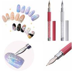 Diseños de uñas pluma de dibujo del mango acrílico cristal tallar pintura punta de diamantes de imitación de puntos