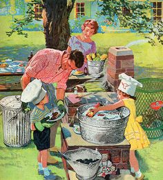 Cookout - detail from 1960 Wheeling Ware ad.
